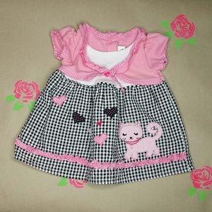 Youngland Checkered Princess Kitty Dress 3/6 MO